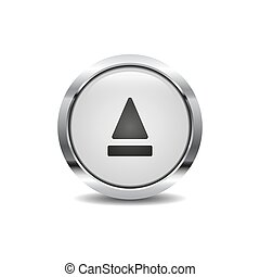 Eject icon vector image round 3d button with metal frame