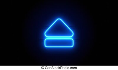 Eject neon sign appear in center and disappear after some time. Animated blue neon symbol on black background. Looped animation.