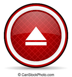 eject red glossy icon on white background