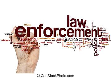 ejecución de la ley, palabra, nube