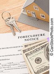 ejecución hipoteca, aviso, hogar, teclas de casa, y, pila de dinero