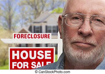 ejecución hipoteca, deprimido, casa, señal, frente, hombre ...
