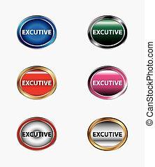 ejecutivo, conjunto, icono
