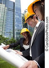 ejecutivo, construcción, equipo
