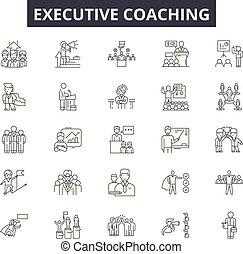 ejecutivo, entrenador, línea, iconos, para, tela, y, móvil, design., editable, golpe, signs., ejecutivo, entrenador, contorno, concepto, ilustraciones