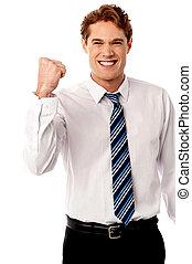 ejecutivo, entusiasmo, lleno, empresa / negocio