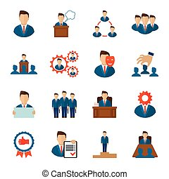 ejecutivo, iconos, plano