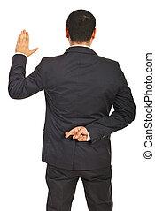 ejecutivo, mentiroso, espalda