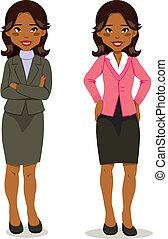 ejecutivo, mujer, negro