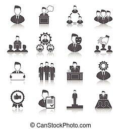 ejecutivo, negro, iconos