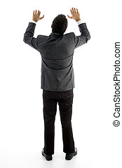 ejecutivo, postura, espalda, empujar arriba