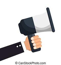 ejecutivo, tenencia de la mano, megáfono, icono