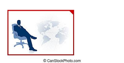 ejecutivode negocios, en, comunicación global, plano de fondo