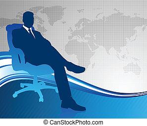 ejecutivode negocios, en, comunicación global, plano de...