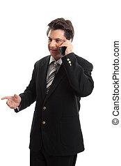 ejecutivode negocios, por teléfono