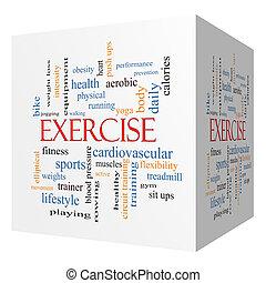 ejercicio, 3d, cubo, palabra, nube, concepto