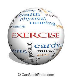 ejercicio, 3d, esfera, palabra, nube, concepto