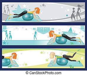 ejercicio, banners., pilates