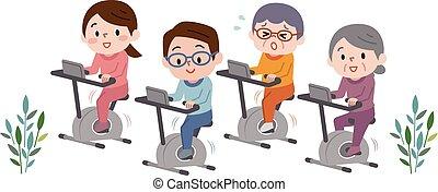 ejercicio, gente, bicicletas, positivo, gimnasio, grupo, entrenamiento