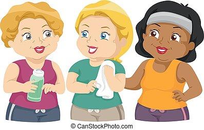 ejercicio, grupo, niñas, 3º edad, ilustración