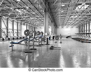 ejercicio, habitación, con, equipo, en, el, hangar., 3d,...