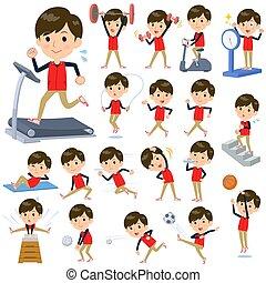 ejercicio, hombres, uniforme al personal, deportes, tienda, rojo, y