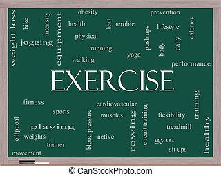 ejercicio, palabra, nube, concepto, en, un, pizarra