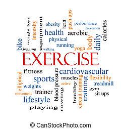 ejercicio, palabra, nube, concepto