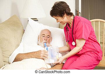 ejercicio, -, respiración, hogar, enfermería