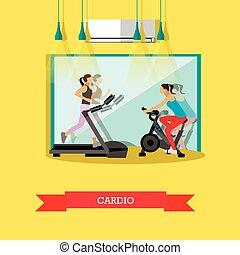 ejercicios, cardio, gimnasio, niñas