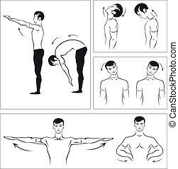 ejercicios, espina dorsal, relajar