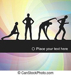 ejercicios, gimnástico, plano de fondo, ilustración, mujeres