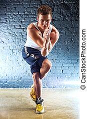 ejercicios, hombre, joven, deportes