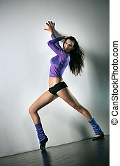 ejercicios, mujer, joven, condición física