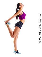 ejercicios, niña, deportivo, gimnástico, joven