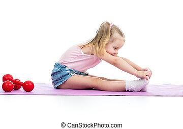 ejercicios, niña, niño, condición física