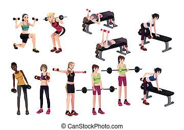 ejercicios, pesas, mujeres