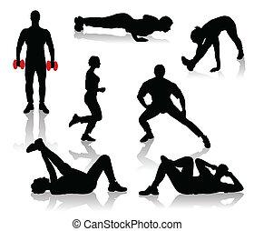 ejercicios, siluetas, gente