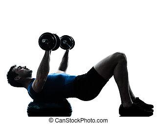 ejercitar, entrenamiento, peso, bosu, hombre, entrenamiento, condición física, postura