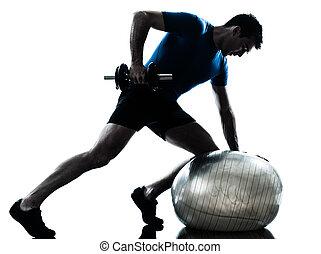 ejercitar, entrenamiento, peso, hombre, entrenamiento, ...