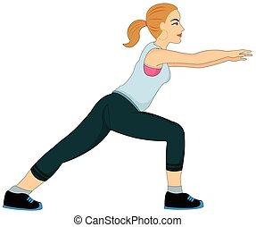 ejercitar, mujer se estirar, ilustración