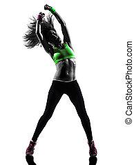 ejercitar, silueta, bailando, mujer, condición física, zumba