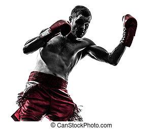 ejercitar, silueta, boxeo, hombre, tailandés, uno