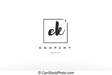 ek e k hand writing letter company logo icon design