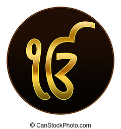Ek Onkar - Golden symbol in dark ba - Ek Onkar symbol in...