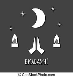 Ekadasi. the eleventh day. Hindu holiday. Black background....