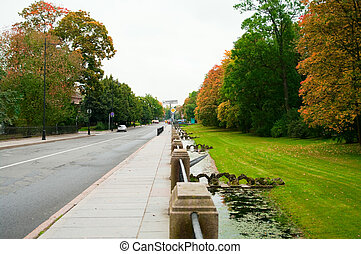 Ekaterina\'s park in the autumn in a city Pushkin, St.-Petersburg, Russia