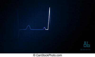 EKG, 心, 藍色, 監控