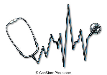 ekg, 符號, 聽診器, 健康護理