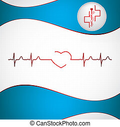 ekg, abstract, medisch, achtergrond, cardiologie